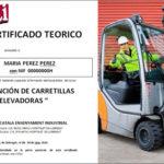 CURSO TEORICO DE PREVENCION DE RIESGOS LABORALES. CARRETILLAS ELEVADORAS. BARCELONA