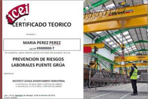 CURSO TEORICO DE PREVENCION DE RIESGOS LABORALES. PUENTE GRUA. BARCELONA